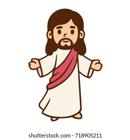 Jesus Christ in cute cartoon style. Christian Bible for kids, vector illustration.