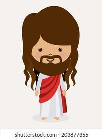 Jesus christ design over white background, vector illustration