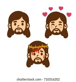Jesus Christ face set in cute cartoon style. Smiling, love and suffering with thorn crown. Vector illustration.