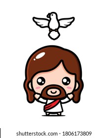 jesus christ and flying dove vector design