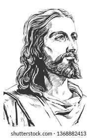 Jesus Christ, graphic portrait. Hand drawing.
