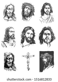 Jesus Christ, graphic portrait. Hand drawing. Vector set