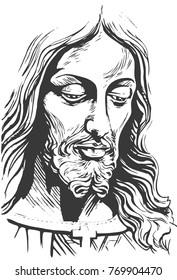 Jesus Christ, graphic portrait. Hand drawing