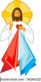 Jesus Christ with his Sacred Heart Divine Mercy, blessing. Vector illustration.