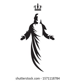 Jesus Christ with king crown, vector