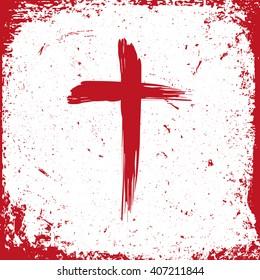 Jesus Christ logo. Cross painted brushes