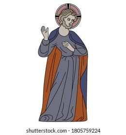 Jesus Christ. Medieval icon. Christian saint. Isolated vector illustration.