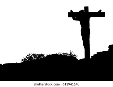 Jesus Christ on the cross silhouette - crucifixion on the Calvary Hill. Abstract artistic religious illustration of Good Friday