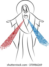 Jesus Christ the Risen Lord, Sacred Heart with Divine Mercy. Simple abstract vector drawing.