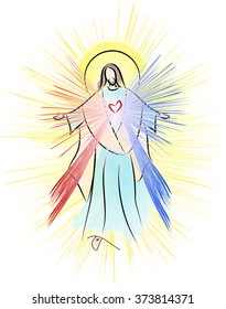 Jesus Christ, Sacred Heart Divine Mercy with rays. Vector color illustration.