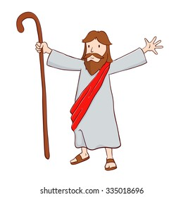 Jesus Christ The Shepherd With Open Arms, Vector Illustration