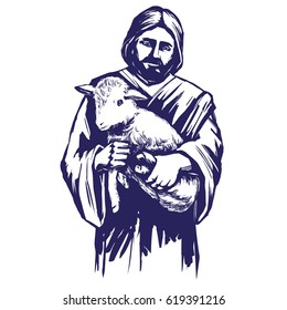 Jesus Christ, Son of God, holding a lamb in his hands, symbol of Christianity hand drawn vector illustration sketch