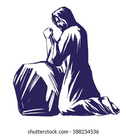 Jesus Christ, the Son of God, Messiah praying in the garden of Gethsemane, symbol of Christianity hand drawn vector illustration sketch
