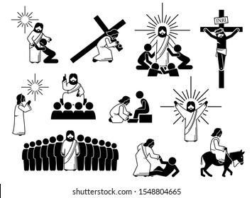 Jesus Christ stick figure, icons and pictogram. Illustrations of Jesus Christ with people, cross, crucifixion, praying, worship, sacrifice, teaching disciples, and love.