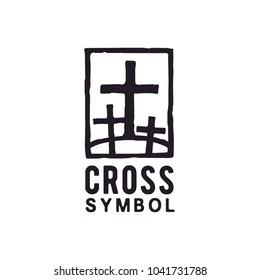 Jesus cross tomb two thieves Gospel Church Christian logo design