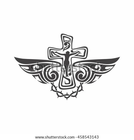 Jesus Cross Wings Christian Symbols Religious Stock Vector Royalty