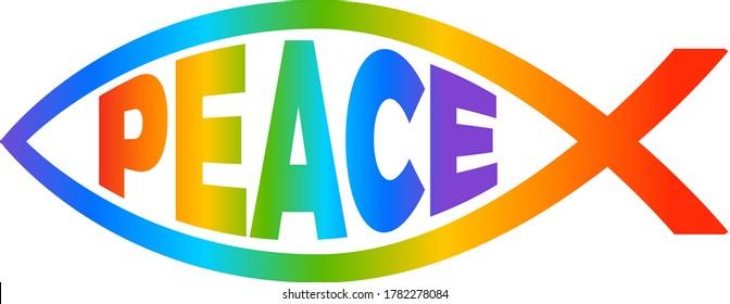 Jesus Fish Rainbow Ichthus Pride Peace Symbol
