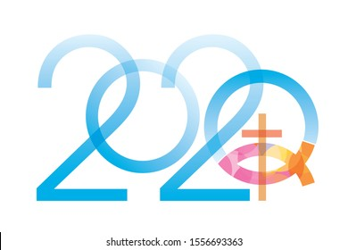 Jesus fish symbol new year.  2020 new year with Jesus fish symbol with cross. Isolated on white background. Vector available.