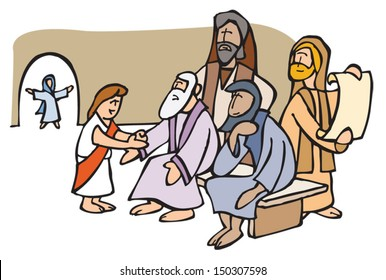 Jesus gets lost and he is found in the temple, with the old doctors.