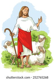 Jesus is a good shepherd. Easter christian illustration. Also available coloring book version