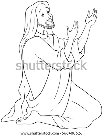 jesus kneeling in prayer coloring page also available colored version
