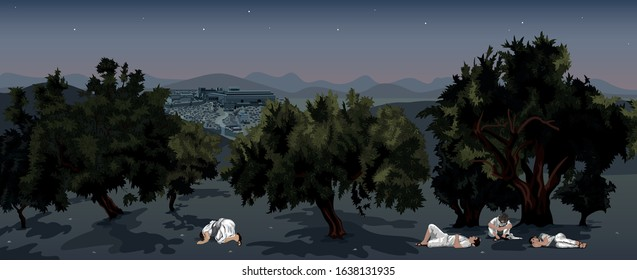 Jesus Knelt Down Praying in the Olive Grove, Gethsemane, overlooking Jerusalem, as his Disciples Sleep