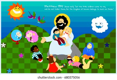 Jesus with little kids on a lawn for posters, prints, t-shirts, postcards, books, illustration, etc., Matthew 19:14