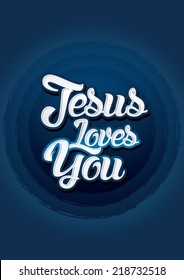 Jesus loves you on blue background, Vector.