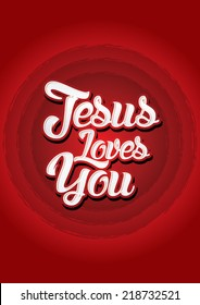 Jesus loves you on red background, Vector.