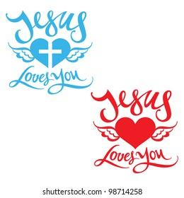 Jesus Loves You religion heart wing God bless Lord