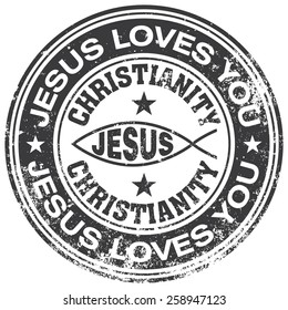 jesus loves you rubber stamp