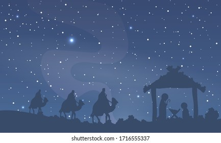 Jesus mary and joseph against sky, vector art illustration.