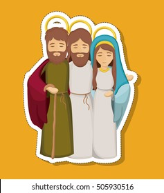 jesus mary and joseph cartoon design