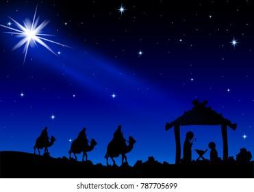Jesus Mary and Joseph under the stars