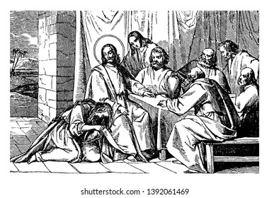 Jesus with men sitting at table and eating, a woman sitting on knees at his feet and pouring out container of ointment on his feet, vintage line drawing or engraving illustration