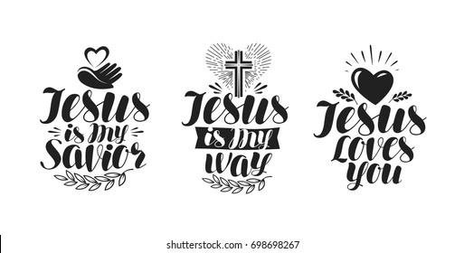 Jesus is my Savior, calligraphy. Bible lettering. Vector illustration
