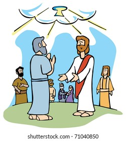 Jesus offers Peter the keys of the Kingdom of Heaven