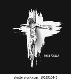 Jesus on the cross, Hand Drawn Sketch Vector illustration.