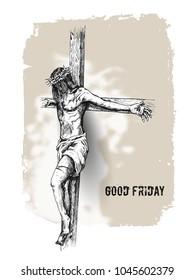 Jesus on the cross, Hand Drawn Sketch Vector illustration.