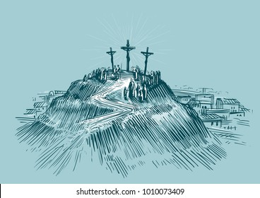 Jesus on cross. Mount Golgotha. Art sketch vector illustration