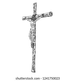 Jesus on cross from mount Golgotha. Hand drawn art sketch. Vector.