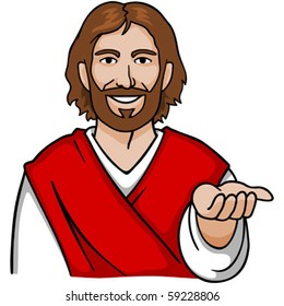 Jesus with an open hand.