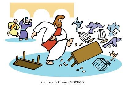 Jesus overturns the money changer's tables.