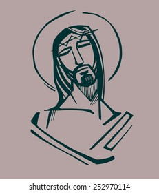 Jesus at the Passion  Hand drawn vector illustration or drawing of Jesus Christ at the Passion