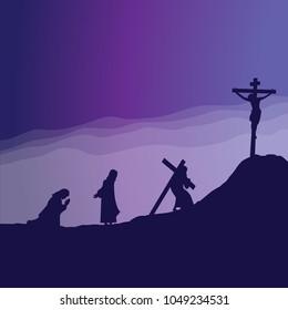 Jesus praying and joueney to Calvary