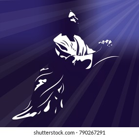 Jesus praying with light rays shining down on him on a dark purple background.