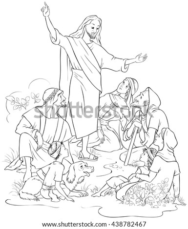 Jesus Preaches The Gospel Christian Cartoon Coloring Page Also Available Colored Version