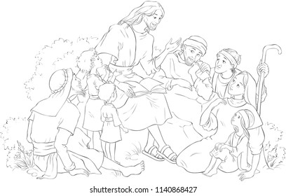 Jesus preaching to a group of people. Coloring page. Also available colored illustration