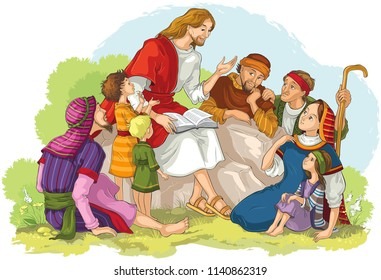 Jesus preaching to a group of people. Vector cartoon christian illustration. Also available coloring book version.