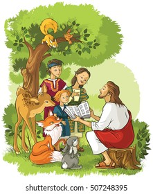 Jesus reading the Bible to children and animals. Also available coloring book version